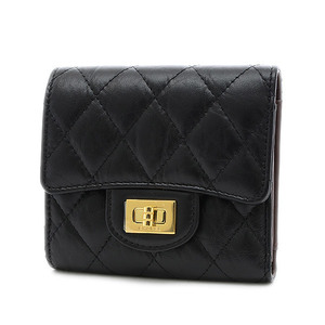 Chanel 2.55 Compact Tri-Fold Wallet Aged Calfskin Black