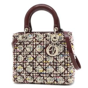 Christian Dior Dior Lady Canage 2Way Bag Tweed Bordeaux Multicolor