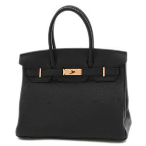 Hermes Birkin 30 Togo Black Rose Gold Hardware Handbag