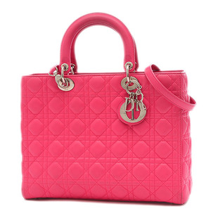 Christian Dior Dior Lady Canage Classic Large 2Way Bag Lambskin Pink