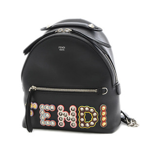 Fendi Studs Logo Backpack Mini Leather Black 8BZ038