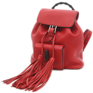 Gucci Bamboo Backpack Leather Red 387149