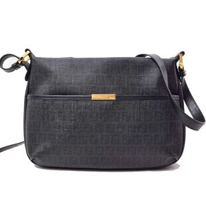 FENDI Zucchino Shoulder Bag Black Leather