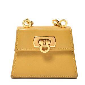 Salvatore Ferragamo Ferragamo Gancio Chain Shoulder Mini Bag Gold Hardware Yellow Leather