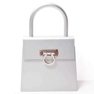 Salvatore Ferragamo Ferragamo Aluminum Salvatore Gancio Handbag Silver Metallic Leather