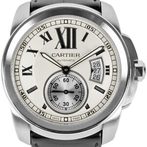 CARTIER Calibre de Cartier Steel Leather Automatic Mens Watch W7100037