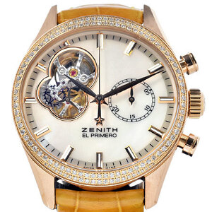 ZENITH Chronomaster El Primero Open Chronograph Diamomd MOP Dial 18K Rose Gold Automatic Mens Watch 22.2150.4062