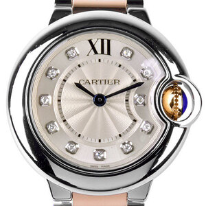 CARTIER Ballon Bleu Diamond 18K Pink Gold Steel Quartz Ladies Watch WE902030