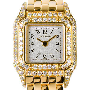 CARTIER Mini Panthere Diamond 18K Gold Steel Quartz Ladies Watch