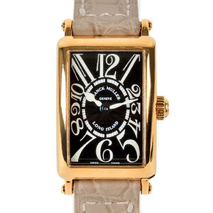 FRANK MULLER Long Island 18K Gold Leather Quartz Ladies Watch 802QZ 3N