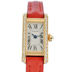 CARTIER Tank Allonge Diamond 18K Gold Leather Quartz Ladies Watch WB300531