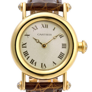 CARTIER Diabolo Diamond 18K Gold Leather Quartz Ladies Watch