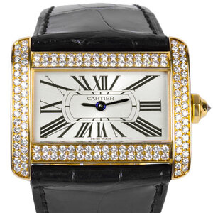 CARTIER Mini Tank Divan 18K Gold Quartz Ladies Watch WA301071