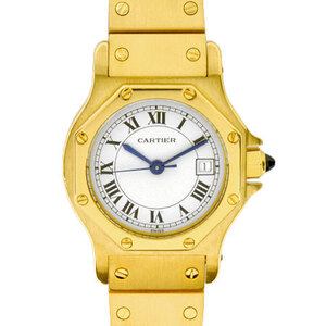 CARTIER Santos Octagon SM 18K Gold Automatic Ladies Watch