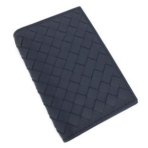 Bottega Veneta Card Case Business Holder Intrecciato Leather Navy Men