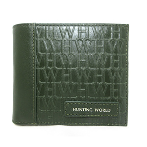 Hunting World HUNTING WORLD Bi-Fold Wallet Men's Compact Logo Leather Green