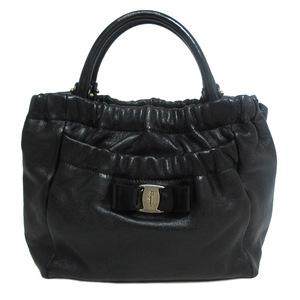 Salvatore Ferragamo Handbag Leather Enamel Black Ladies