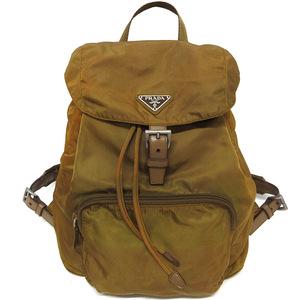 Prada Rucksack Backpack Bag B4650 TABCCO Nylon Leather Khaki Brown