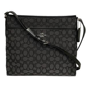 Coach Shoulder Bag Black Gray Signature F58285 Canvas Leather Ladies