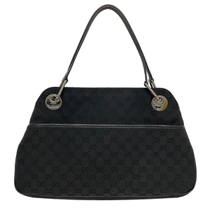 Gucci Tote Bag Black GG Canvas 121023 1956 Leather Ladies