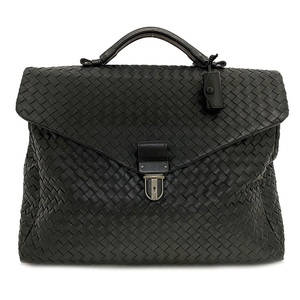 Bottega Veneta Bag Black Intrecciato 113095 Briefcase Leather Men's