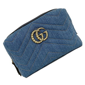Gucci Pouch Blue GG Marmont Pearl 476165 Cosmetic Japan Limited Denim Canvas Leather Ladies Accessory Case