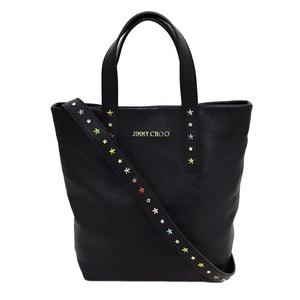 Jimmy Choo 2YAW Bag Black Color Studs Calf Leather Women's Handbag Shoulder