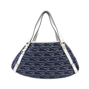 Gucci Tote Bag 130736 493492 Denim Canvas Leather Women's Handbag