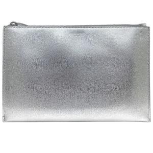 Yves Saint Laurent Saint Laurent Paris Clutch Bag Metallic Silver Zipper Pouch Leather Party