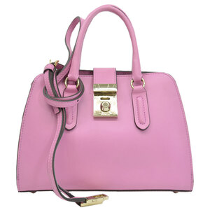 Furla Handbag Shoulder Bag 2way Pink Gold Color Leather Ladies