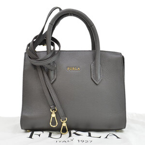 Furla Handbag Shoulder Bag Gray Gold Color Leather Ladies
