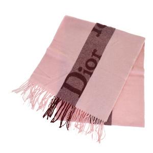 Christian Dior Muffler Logo Wool Cashmere Stole Pink