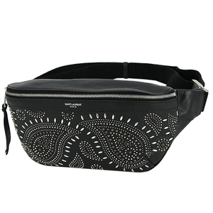 Saint Laurent Bum Bag Leather Studs Black Waist Pouch Men's Women's Pochette Shoulder