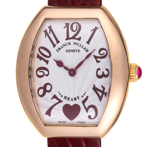FRANK MULLER Heart to Heart 18K Pink Gold Leather Quartz Ladies Watch 5002LQZC6H