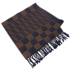 FENDI Muffler Stole Pequin Zucca Plaid Striped Wool Men's
