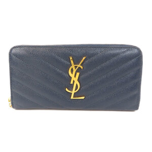 Saint Laurent V Stitch Long Wallet Leather Ladies