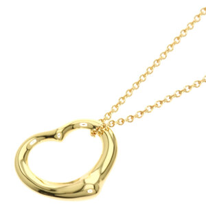 Tiffany Open Heart Necklace K18 Yellow Gold Ladies