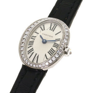CARTIER Baignoire Diamond 18K White Gold Leather Quartz Ladies Watch WB520027