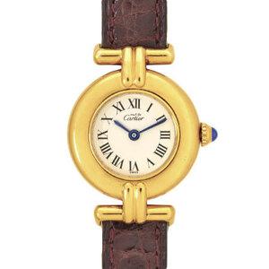 CARTIER Must Colisee Vermeil 925 Gold Plated Leather Quartz Ladies W1000653