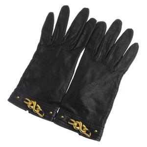 Hermes gloves leather black gold hardware size 7