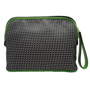 Valextra Pouch Canvas Black Green
