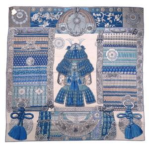 Hermes Carre 140 Samurai Armor Helmet Parures de Samourais Cashmere Silk Blue Stole Scarf