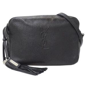 Saint Laurent Fringe Tassel Charm Shoulder Camera Bag Leather Black FLY 470299/0617