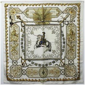 Hermes Silk Scarf Carre 90 LVDOVICUS MAGNUS Louis XIV White Ladies Straddling a Horse