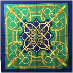 Hermes Scarf Carre 90 EPERON D'OR Golden Spur Green Ladies
