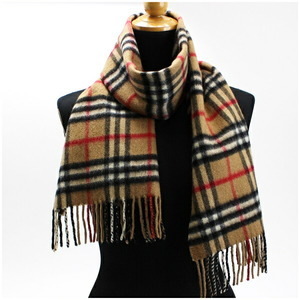 Burberry of London Cashmere Scarf Camel Check 146 Beige Brown Women's Men's