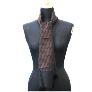 FENDI Silk Shawl Stole Brown Zucca Pattern Ladies