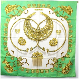 Hermes Scarf Carre 90 LES CAVALIERS D'OR Golden Knight Green Ladies