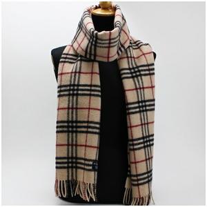 Burberry London Wool Scarf Camel Check 198 Beige Brown Ladies
