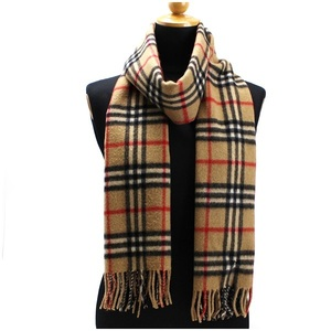 Burberry of London Cashmere Muffler Camel Check 186 Ladies